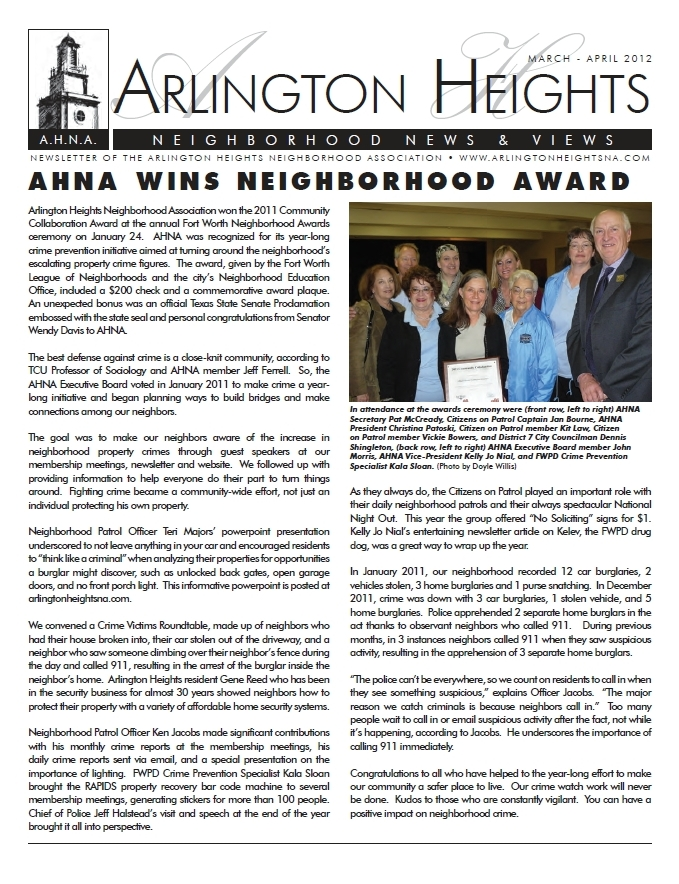 March/April 2012 Newsletter